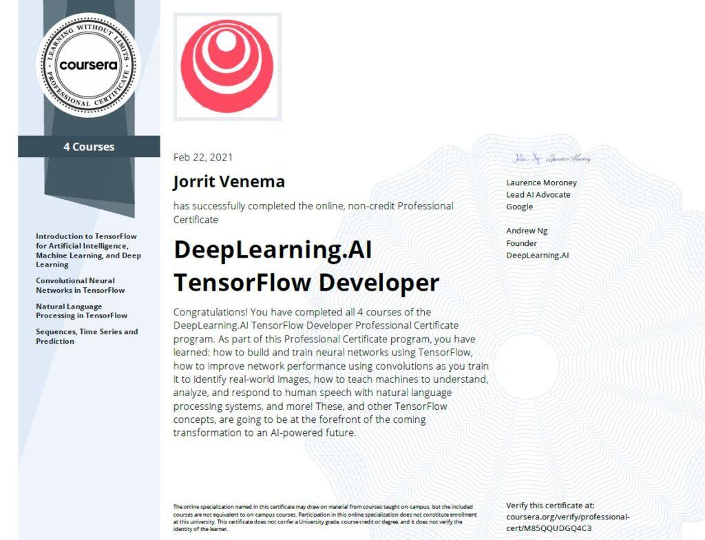 DeepLearning.AI Tensorflow certificering Jorrit Venema VAART software